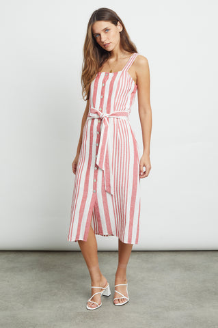Women's Sleeveless Tank Dress, Montreal Stripe, Midi Length
