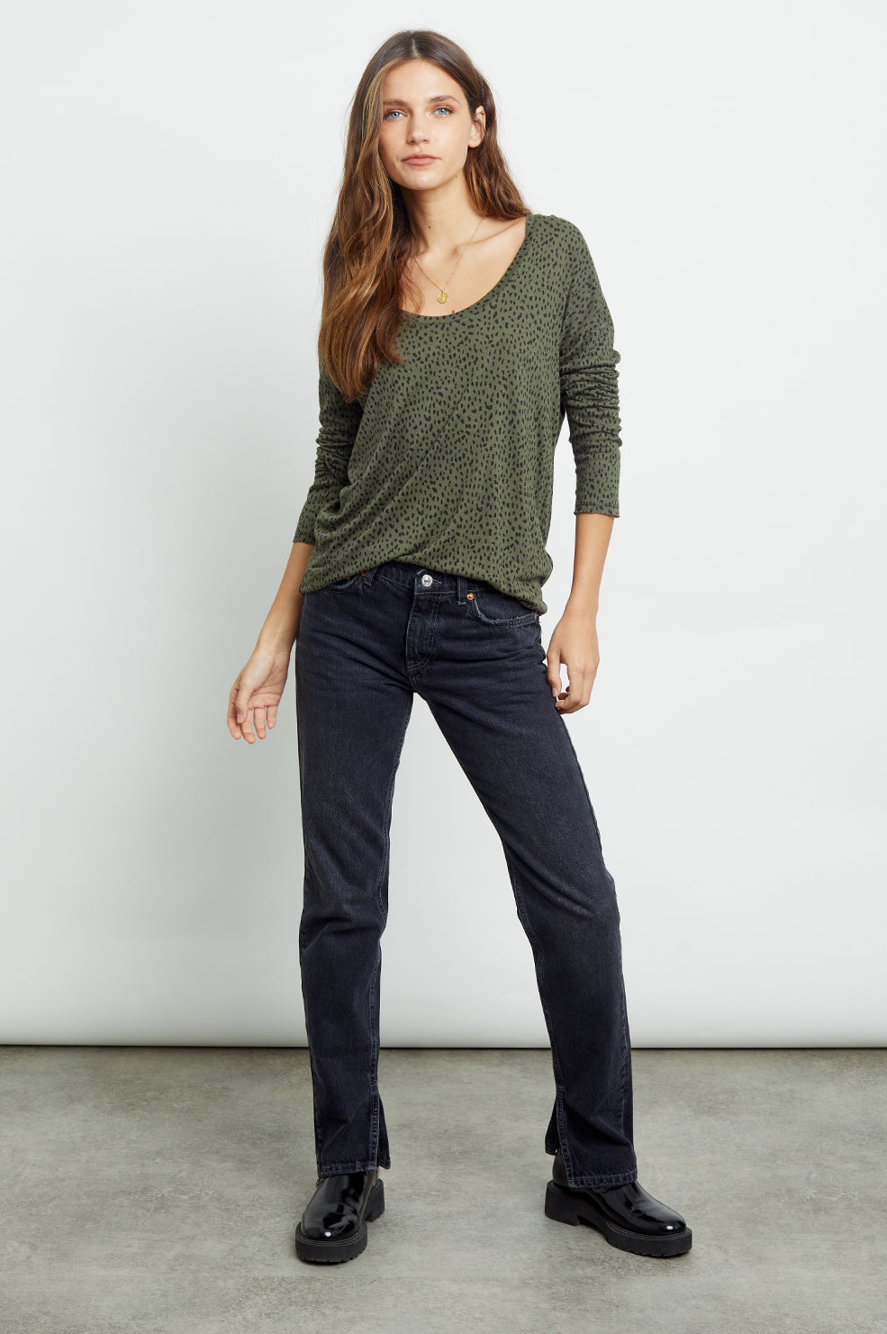 colby olive mini spotted tee front tucked-in