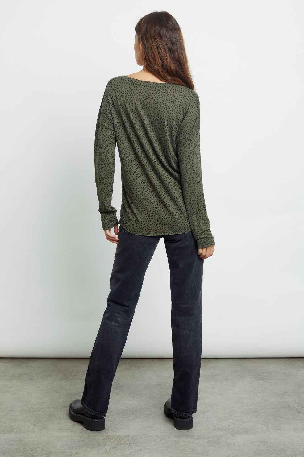 colby olive mini spotted tee back