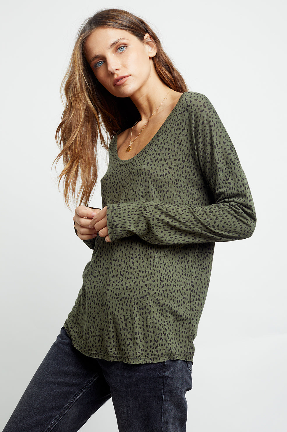 colby olive mini spotted tee side