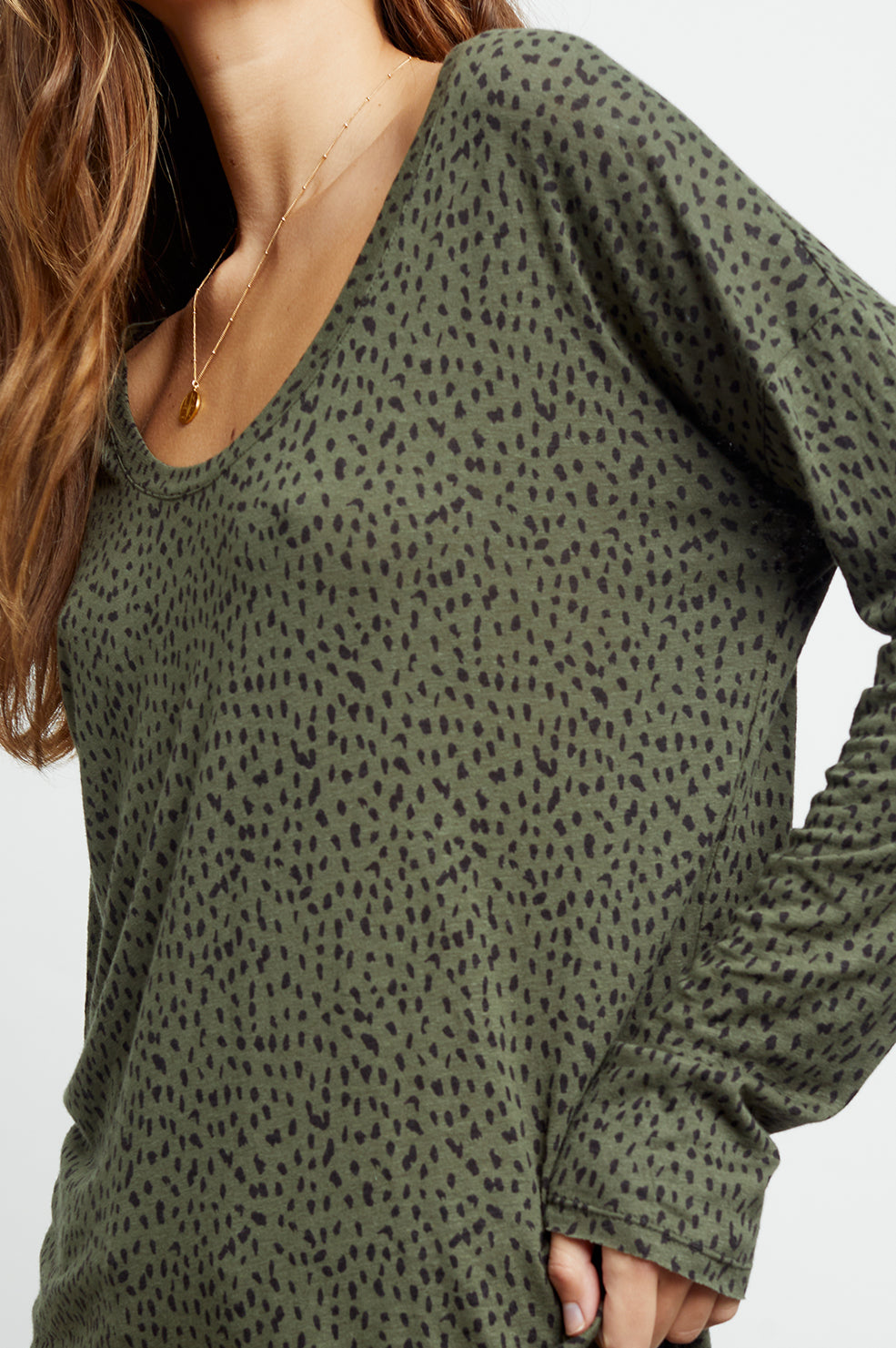 colby olive mini spotted tee front close-up