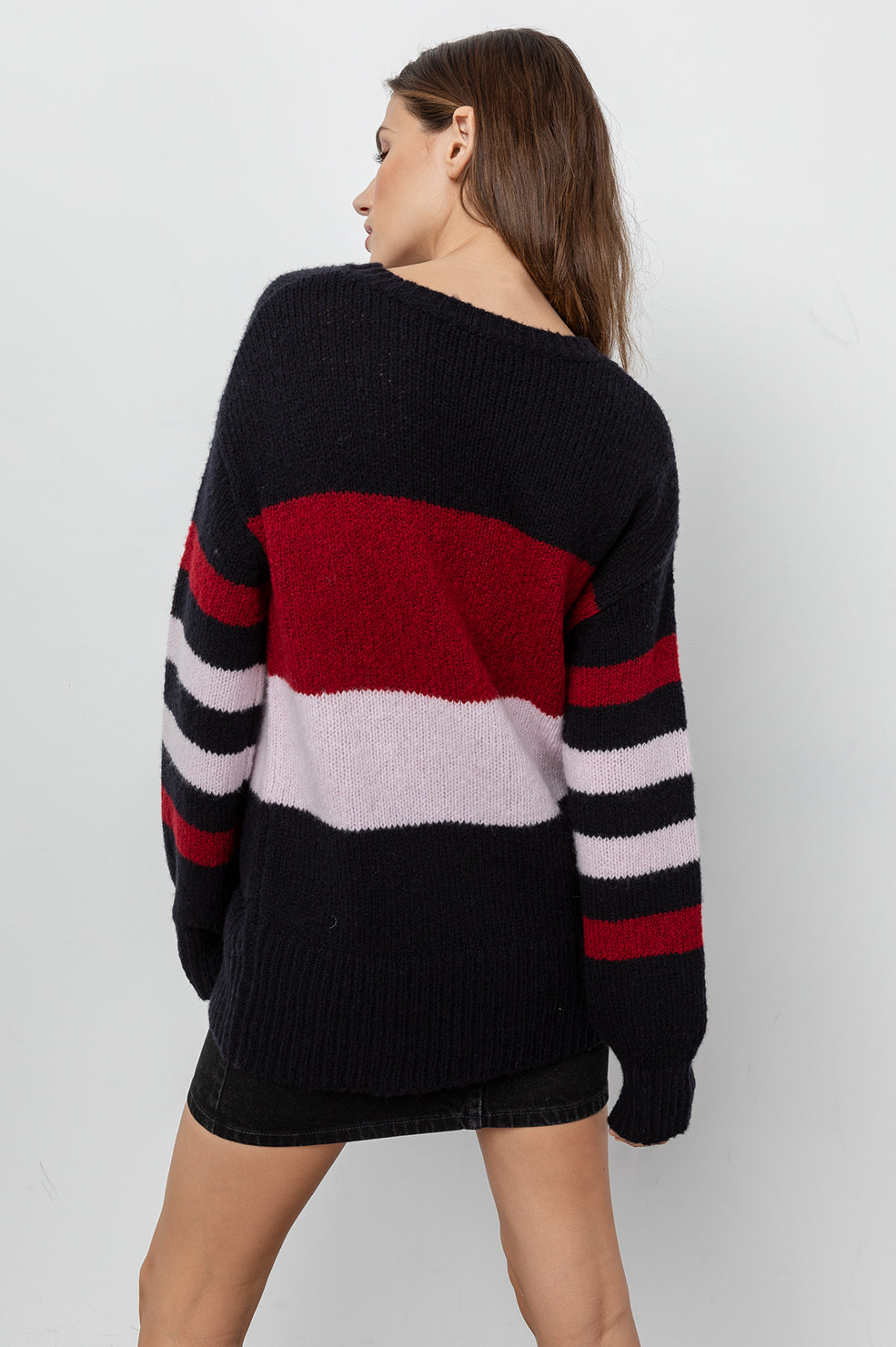 DANI - BLACK CARMINE ROSE STRIPE