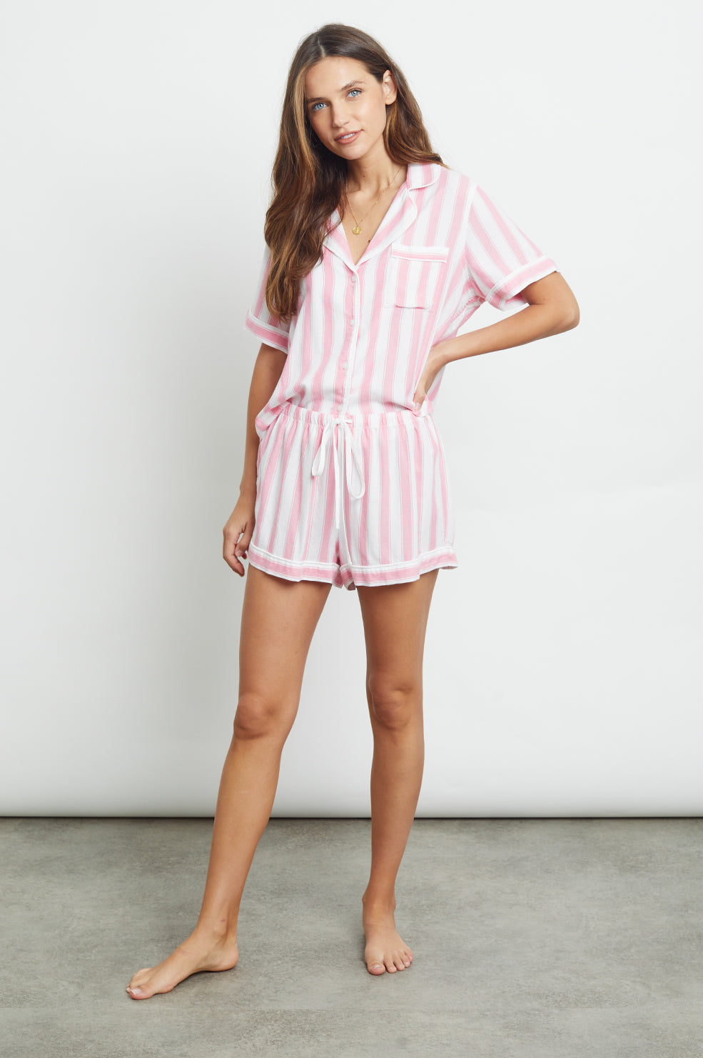 darcie bubblegum white stripe pajama shirt and shorts front tucked-in