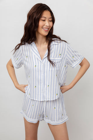 DARCIE - EMBROIDERED LEMONS SKY STRIPE
