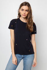 Davie Vintage Black Embroidery Hearts, Women's Short Sleeve T-Shirt