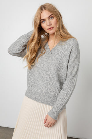 estelle heather grey sweater front