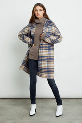 Everest wool blend trench coat in beige blue plaid - front