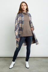 Everest wool blend trench coat in beige blue plaid - front open