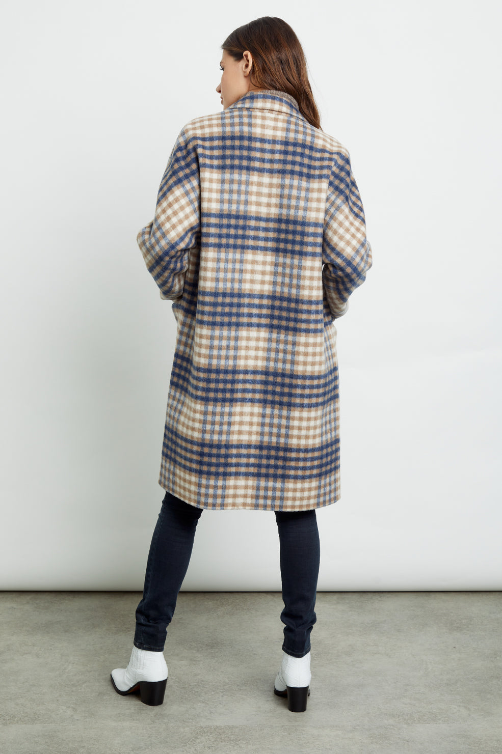Everest wool blend trench coat in beige blue plaid - back