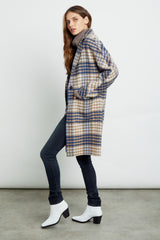 Everest wool blend trench coat in beige blue plaid - side