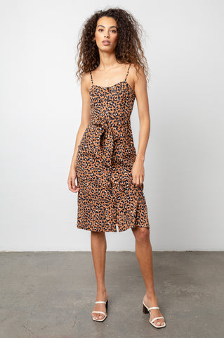 Evie Golden Leopard, Women's Tank Midi Dress