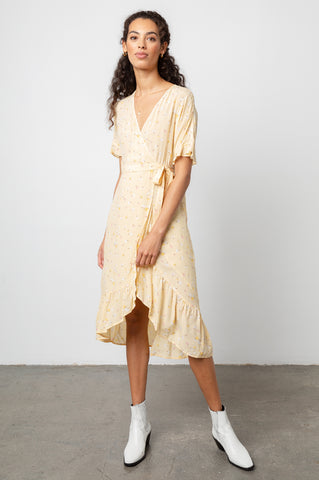 Florence Sunny Floral, Women's Short Flutter Sleeve Dress,