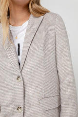 Long sleeve, tailored blazer with soft tonal houndsooth print in dove - detail