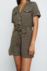Georgie Army Green, Women's Short Sleeve Romper