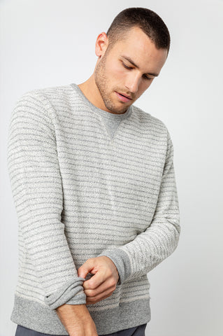 HESTON - REVERSIBLE HEATHER GREY WHITE STRIPE