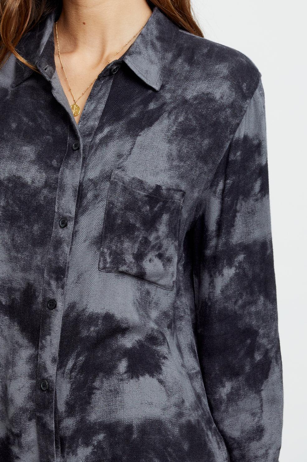 hunter charcoal tie dye buttondown shirt close-up