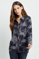 hunter charcoal tie dye buttondown shirt front