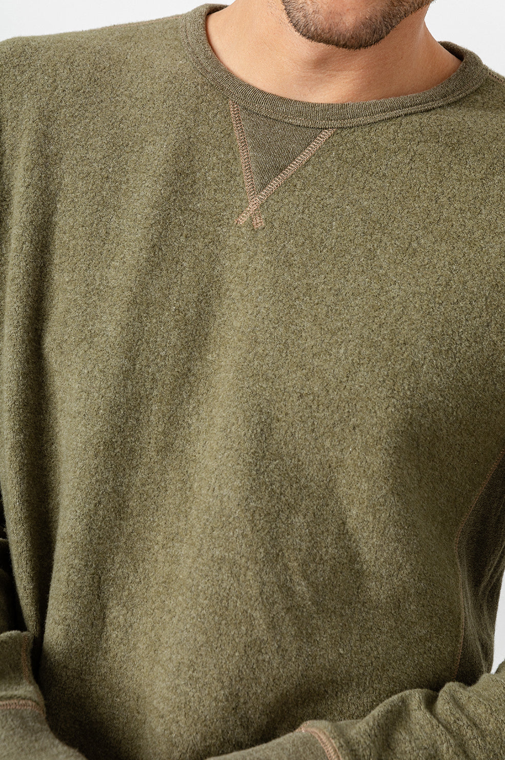 Irving long sleeve, relaxed crewneck pullover in Olive - detail
