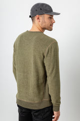 Irving long sleeve, relaxed crewneck pullover in Olive - back