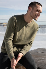Irving long sleeve, relaxed crewneck pullover in Olive - front