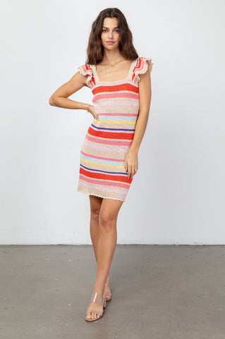 June Tan Multi Stripe, Women's short ruffle sleeve tank dress,