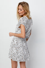 Karla White Mocha Leopard, Women's Short Sleeve Dress