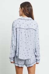 kellen flocked navy stars pajama buttondown top and short back
