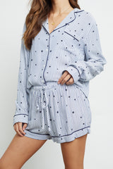 kellen flocked navy stars pajama buttondown top and short front tucked-in