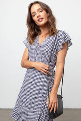 LEANNE - NAVY GINGHAM DOTS