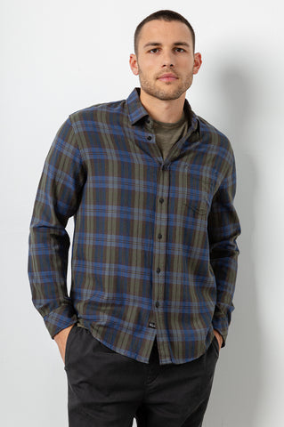 Lennox Long sleeve, button-down, relaxed fit shirt with single chest pocket in forest green and blue plaid - front