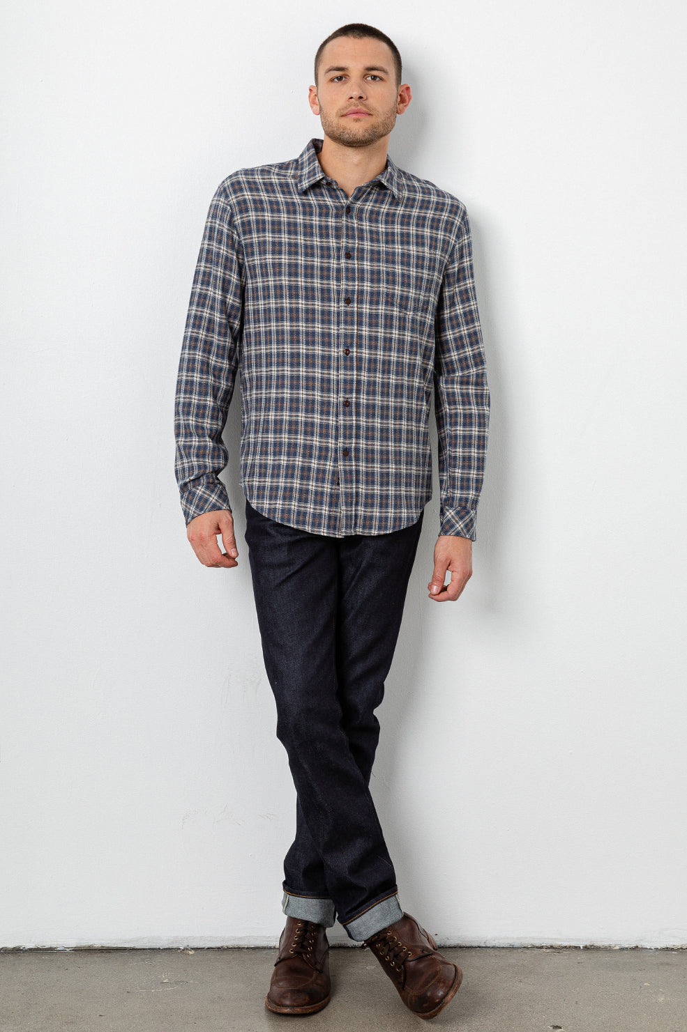 Lennox Long sleeve, button-down, relaxed fit shirt with single chest pocket in emerald heather blue, cream, and beige plaid - front