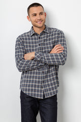 Lennox Long sleeve, button-down, relaxed fit shirt with single chest pocket in emerald heather blue, cream, and beige plaid - front 2