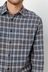 Lennox Long sleeve, button-down, relaxed fit shirt with single chest pocket in emerald heather blue, cream, and beige plaid - detail