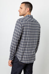 Lennox Long sleeve, button-down, relaxed fit shirt with single chest pocket in emerald heather blue, cream, and beige plaid - back
