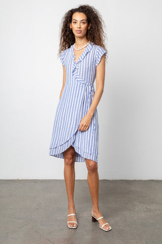 Louisa Juneau Stripe, Women's Short Sleeve Wrap Dress