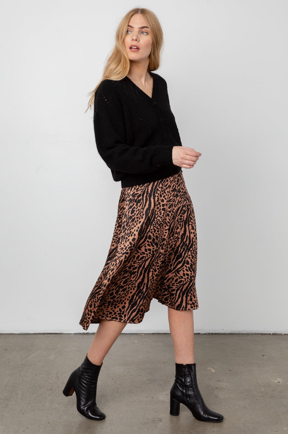 mayfair cinnamon mixed animal skirt front