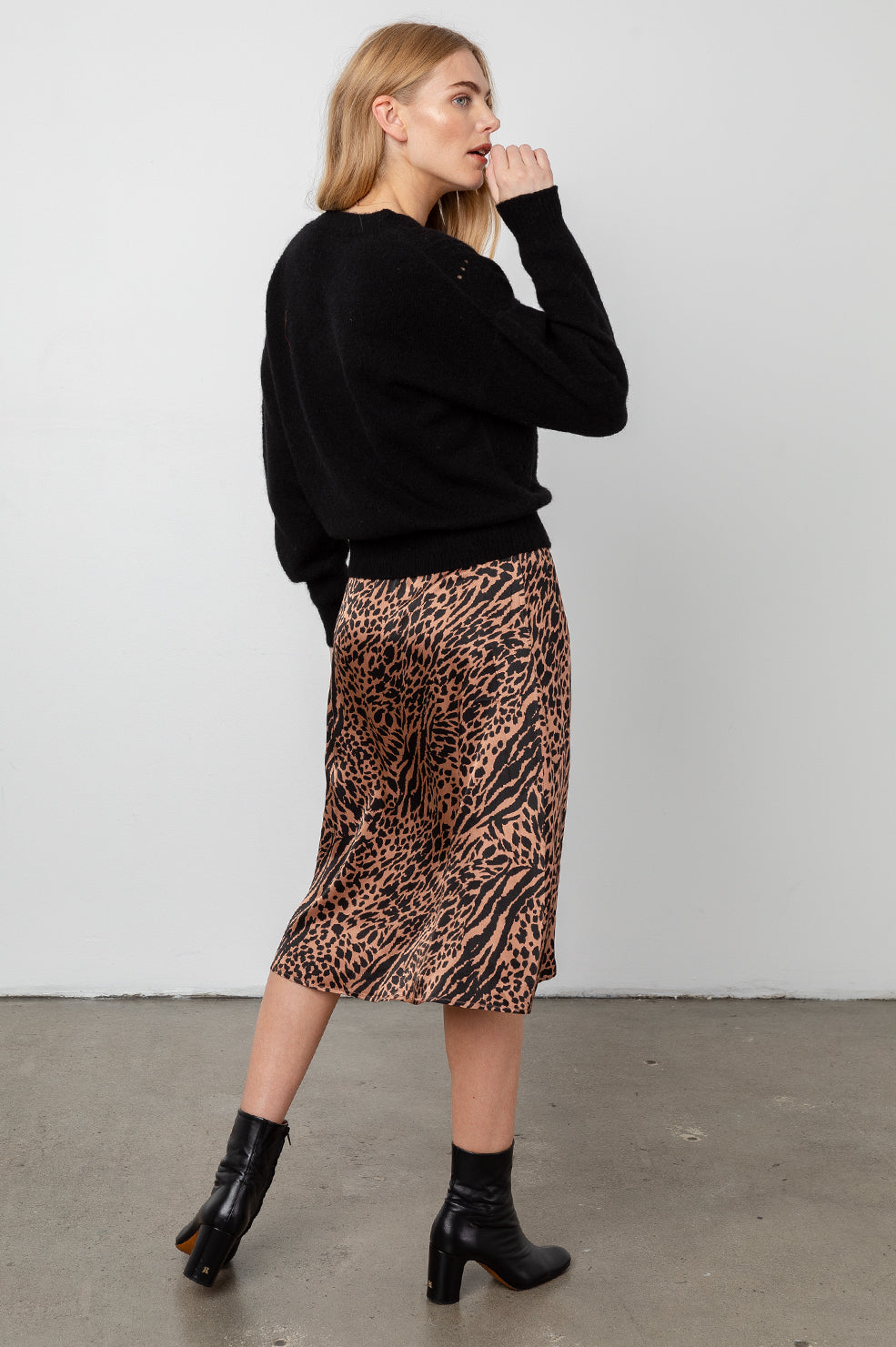 mayfair cinnamon mixed animal skirt back