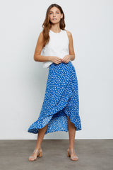 Nova Cobalt Floating Daisies, Women's Midi Length Wrap Skirt