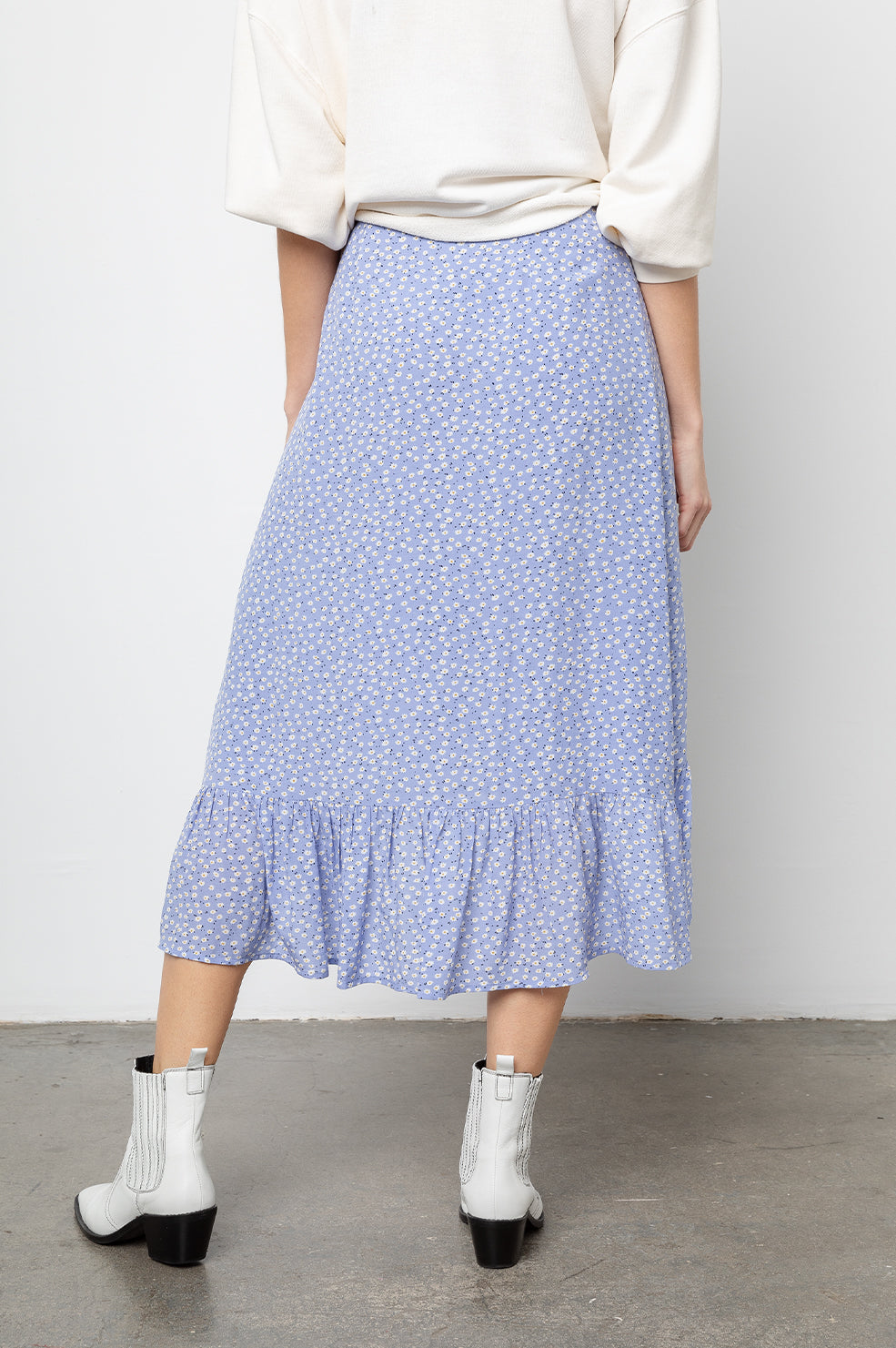Nova Sky Blue Daisies, Women's Midi Wrap Skirt