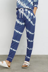 Oakland french terry sweatpant with front pockets, wide elastic waistband, and ribbed tapered leg in sapphire tie dye - front