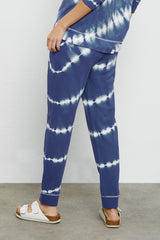 Oakland french terry sweatpant with front pockets, wide elastic waistband, and ribbed tapered leg in sapphire tie dye - back