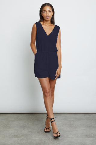 Parker Navy, Women's Sleeveless Romper
