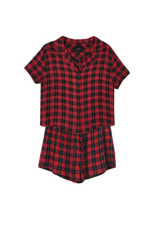 Sleep Short Set- Red/Black Mini Check
