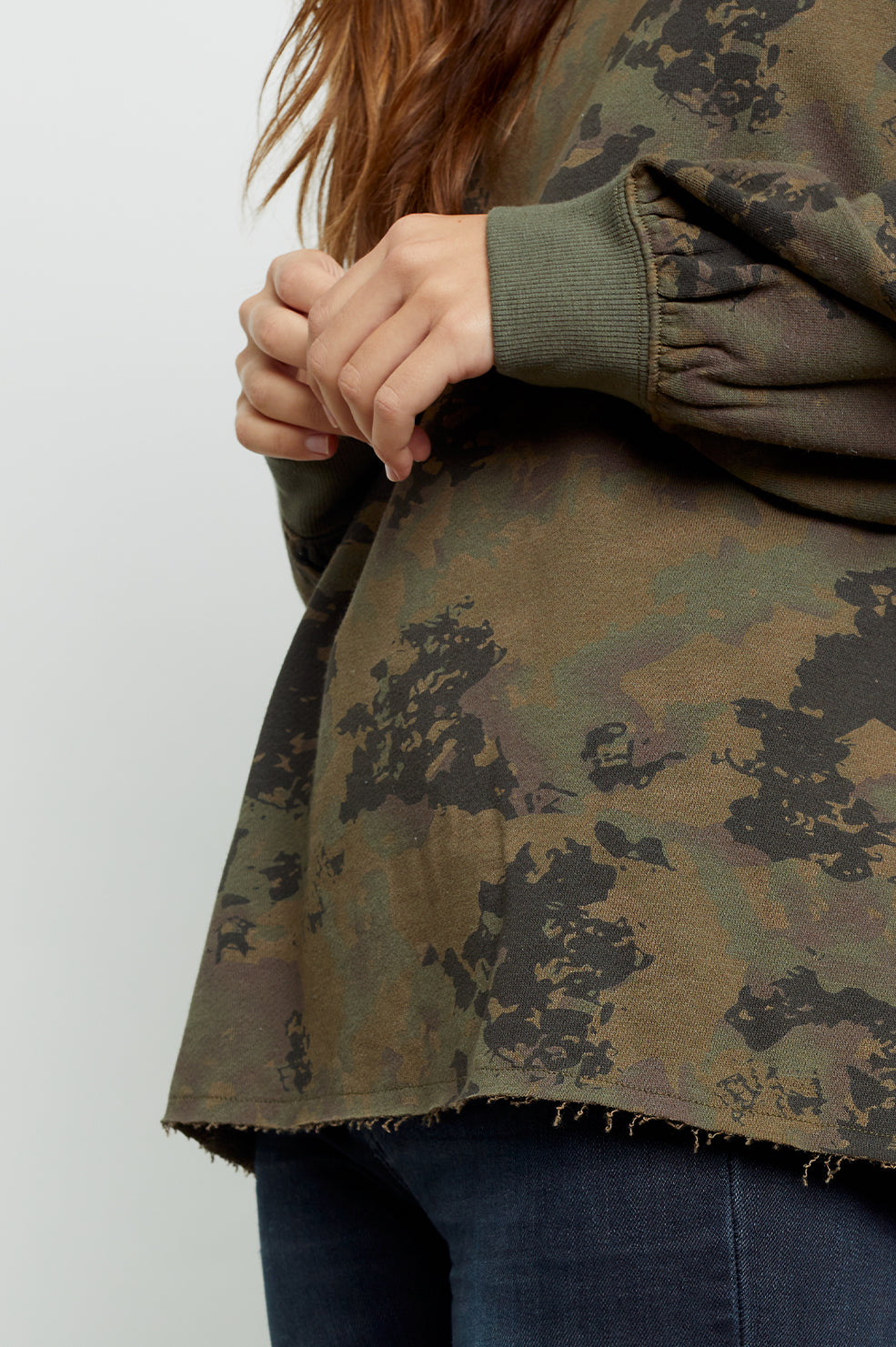 reeves knox camo sweatshirt close-up