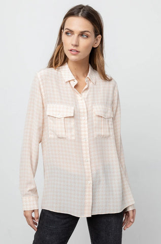 RHETT - SILK IVORY BLUSH HOUNDSTOOTH