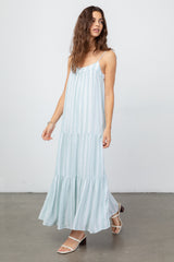 Rosemary Juniper Stripe, Women's Sleeveless Maxi Dress