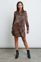 selma cinnamon mixed animal dress front
