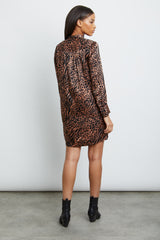 selma cinnamon mixed animal dress back