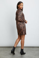 selma cinnamon mixed animal dress side