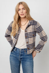 STEFFI - BEIGE BLUE PLAID